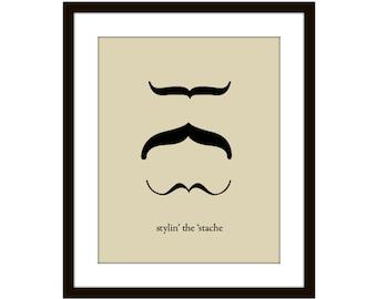 Mustache Digital Print For Men For Dudes Moustache Wall Art Movember Home Decor