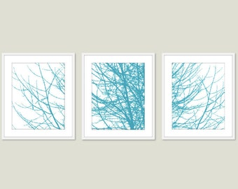 Modern Winter Tree Branches Art Prints - Turquoise Art - Tree Wall Art - Tree Triptych Wall Art - 3 prints - 5x7 or 8x10 Frames not included
