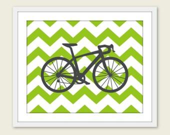 Bike Chevron Nursery Wall Art Print Modern Home Decor  Bicycle Green Chevron - Summer Outdoors  - Under 20