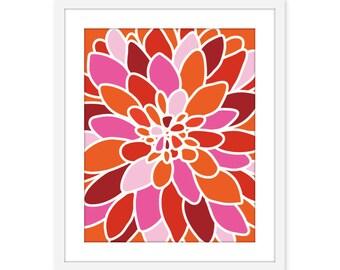 Pink Tangerine Dahlia Flower Art Print Wall Art Modern Home Decor Orange Pink Red - Autumn Colors