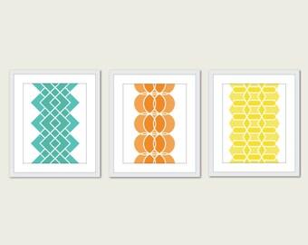 Geometric Prints - Mid Century Modern Wall Art - Set of 3 - Modern Home Decor - Geometric Art - Orange Mint Turquoise Yellow