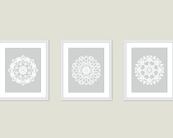 Mandala Art Prints - Medallion Wall Art - Set of 3 - Modern Home Decor - Neutral Colors - Set of 3