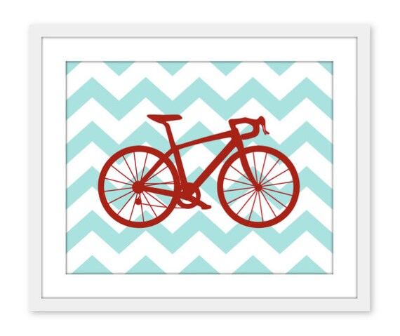 Bike Chevron Nursery Wall Art Print Modern Home Decor  Bicycle Teal and Red