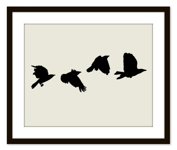 Black Birds Wall Art Print Modern Home Decor Black and Beige Crows - Fathers day - Under 20