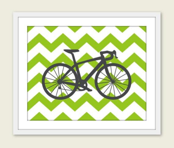 Wall Decor Under 20 : Bike chevron nursery wall art print modern home decor by