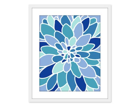 Blue Dahlia Flower Art Print Abstract  Modern Home Decor Blue Tones