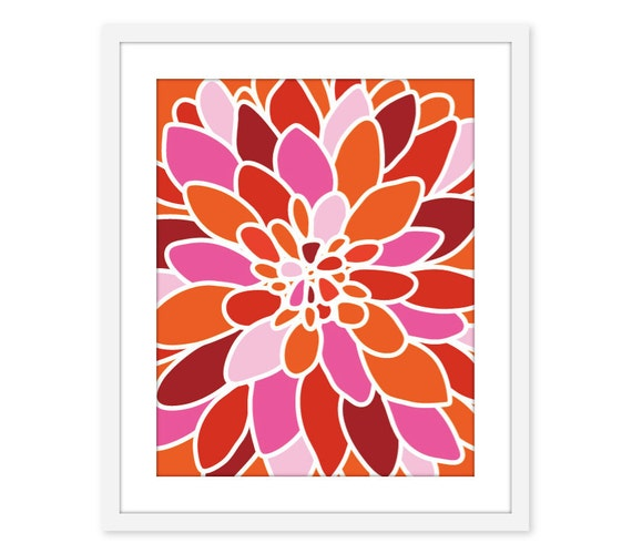 Pink Tangerine Dahlia Flower Art Print Wall Art Modern Home Decor Orange Pink Red - Autumn Colors