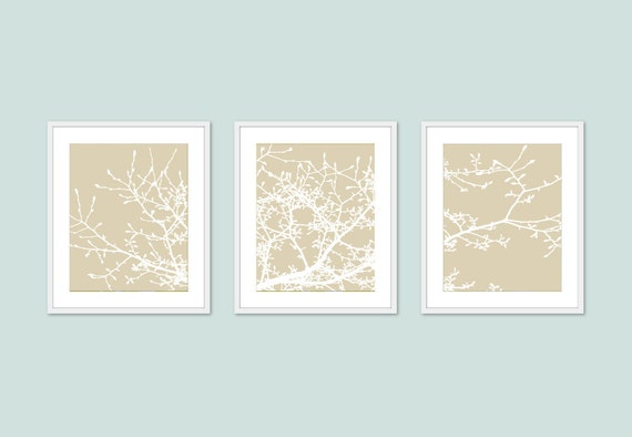 Magnolia Tree Branches Art Prints - Set of 3 - Beige Tan and White - Nature Wall Art Home Decor - Modern Tree Art - Tree Wall Decor