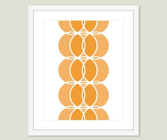 Mid Century Geometric Circles Art Print - Orange Home Decor - Circles Wall Art - Retro Art