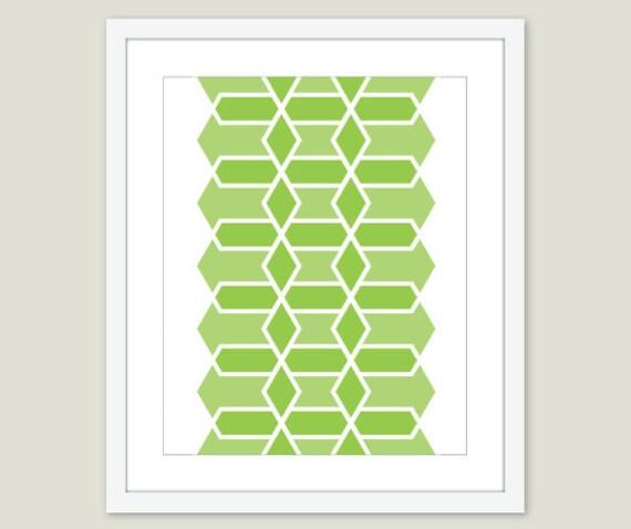 Green Geometric Hexagon Print - Modern Home Decor - Mid Century Modern Art - Geomteric Print - Custom Color - Aldari Art