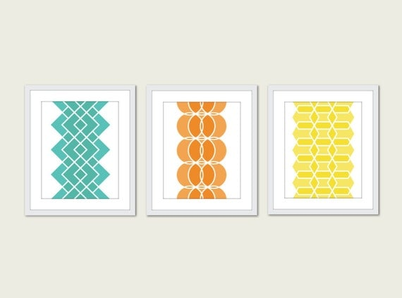Geometric Prints - Mid Century Modern Wall Art - Set of 3 - Modern Home Decor - Geometric Art - Orange Mint Turquoise Yellow