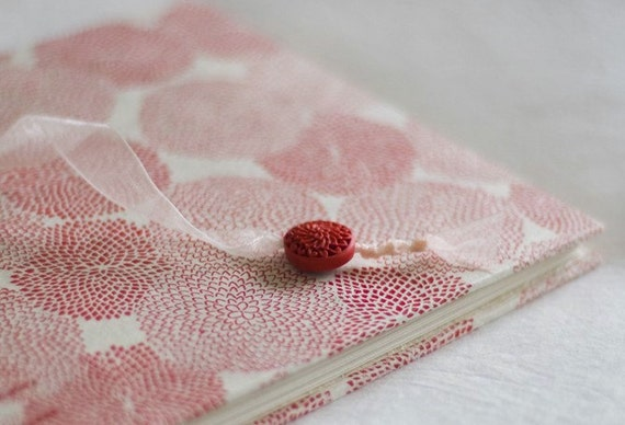 Red mums guest book cream ivory crimson coptic bound wedding album