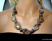 """LP 1 Rutilated Quartz, Sterling Silver Chains,Pyrite Statement Necklace       """" One Of A Kind """""""
