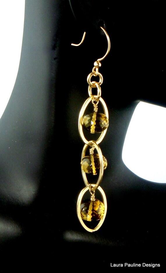 LP 258 Sparkling Honey Onion Quartz and Rose Gold Hoop Dangling Earrings