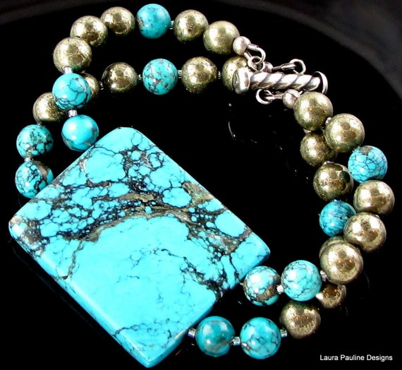 LP 30  Beautiful Blue Turquoise and Silvery Pyrite One Of A Kind Bracelet