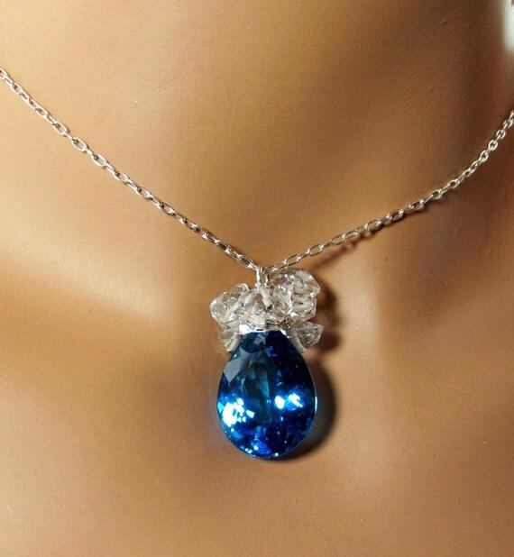 LP 742 Swiss Blue Topaz and Herkimer Diamond Necklace