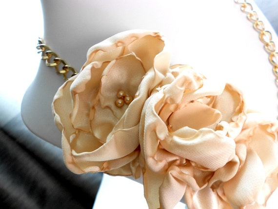 Carmel Latte Fabric Flower Necklace with Gold Chain