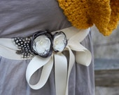 Rosebud Flower Belt in Charcoal Gray and Ivory with Polka Dot Feathers