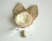 Boutonniere (boutineer, buttonhole) in Champagne, Light Champagne and Ivory with Burlap - Multiples Available