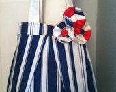 CUSTOM Listing: 'Nautical Blossoms' On the Go Canvas Tote Bag with Pocket