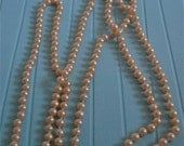 Vintage Faux Flapper Knotted  Pearls Cream Color