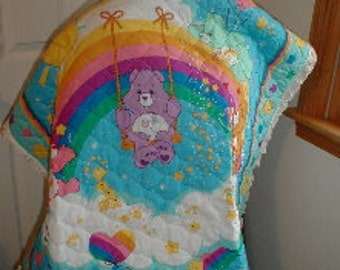 Cuddly Carebear Quilt for your precious bundle  36 x 45 inches