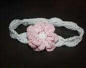Shell Headband with 8 petal flower, newborn size
