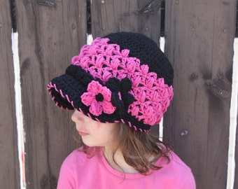 Lacy Newsboy Hat pdf PATTERN (digital download), crochet, newborn to adult size, photo prop, cloche with brim and flower
