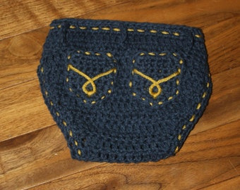 Diaper Cover with Pockets pdf PATTERN (digital download), newborn to 12 months, cowboy/western/denim style to crochet for baby, photo prop
