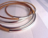 Leather and Silver Bangles in Natural Set of 5: LARGER SIZE