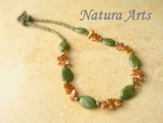 Dark green Jade with bright copper freshwater pearls necklace