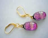 Dichroic Glass Earrings Fuschia Glitter Art Glass