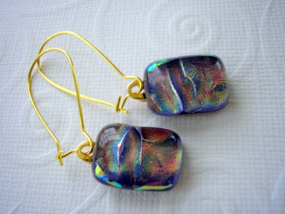 Desert Sunset Dichroic Glass Earrings Dichroic Fused Glass Jewelry