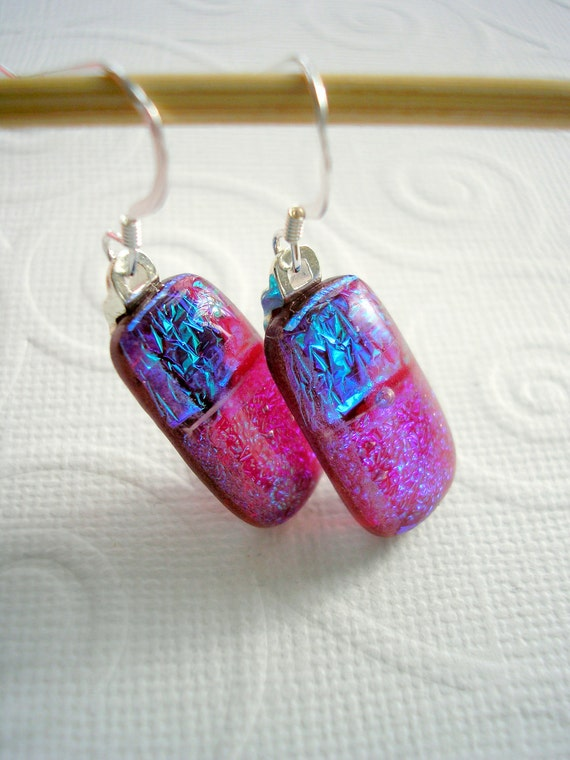 925 Sterling Earrings Dichroic Glass Cranberry Ice