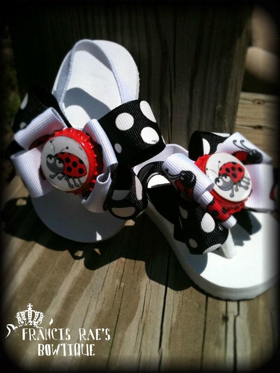 Custom Ladybug Bow Flip Flops Newborn to 6 months