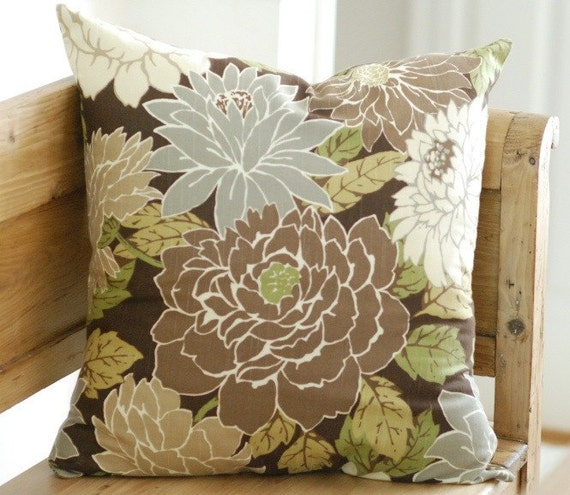 Decorative Pillow Cover 23x23 Natural Floral Print