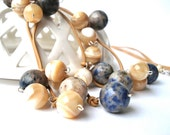 SALE 40% OFF. Ocean Dream. Sodalite and Natural Mother of Pearl Necklace.