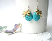 SALE 30% OFF. Turquoise drop earrings with golden dragonfly.
