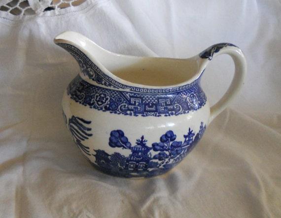 Vintage Blue Willow Creamer or Gravy Boat