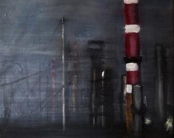 Original Acrylic Painting of Refinery