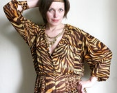 Midsummer Sale - Jungle Drum - Tiger print 1980s sheer Romper