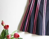 Striped Sweetheart - black and pink ribbon knee high Skirt
