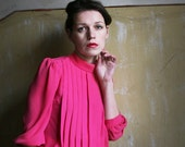 Fuchsia Pink 1980ies pleated Dress
