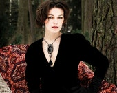 La Comtesse - Black Calchedony and Silver crystals Bead embroidered Necklace and Earrings