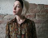 Autumn Meadow blouse - Floral ornamented Blouse1970ies size M