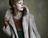 Princess coat Faux blonde mink fur 1970ies made in France