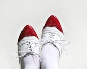 RESERVED for Holly - Alice in Wonderland - Red White Patent leather pointy Oxfords size 6