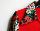 Woodstock sweater -1970ies Hippie Floral bright Red Sweater