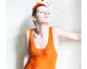 Hot Orange semisheer Tank Top