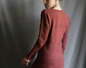 Reserved for dear Wendy - Bordeaux red Linen Tunic Shirt
